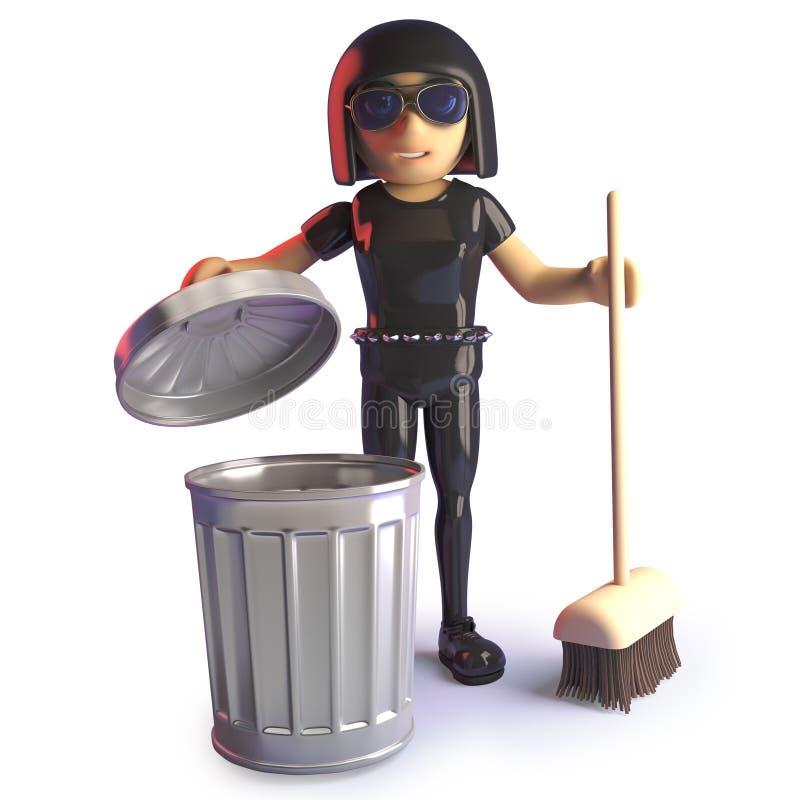Καθαρισμός κοριτσιών Goth με τη σκούπα και το δοχείο απορριμμάτων, τρισδιάστατη απεικόνιση απεικόνιση αποθεμάτων