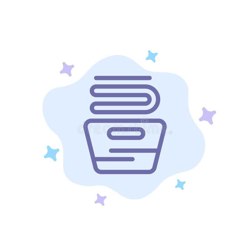 Καθαρισμός, ρούχα, νοικοκυριά, μπλε εικονίδιο πλύσης στο αφηρημένο φόντο του σύννεφου διανυσματική απεικόνιση