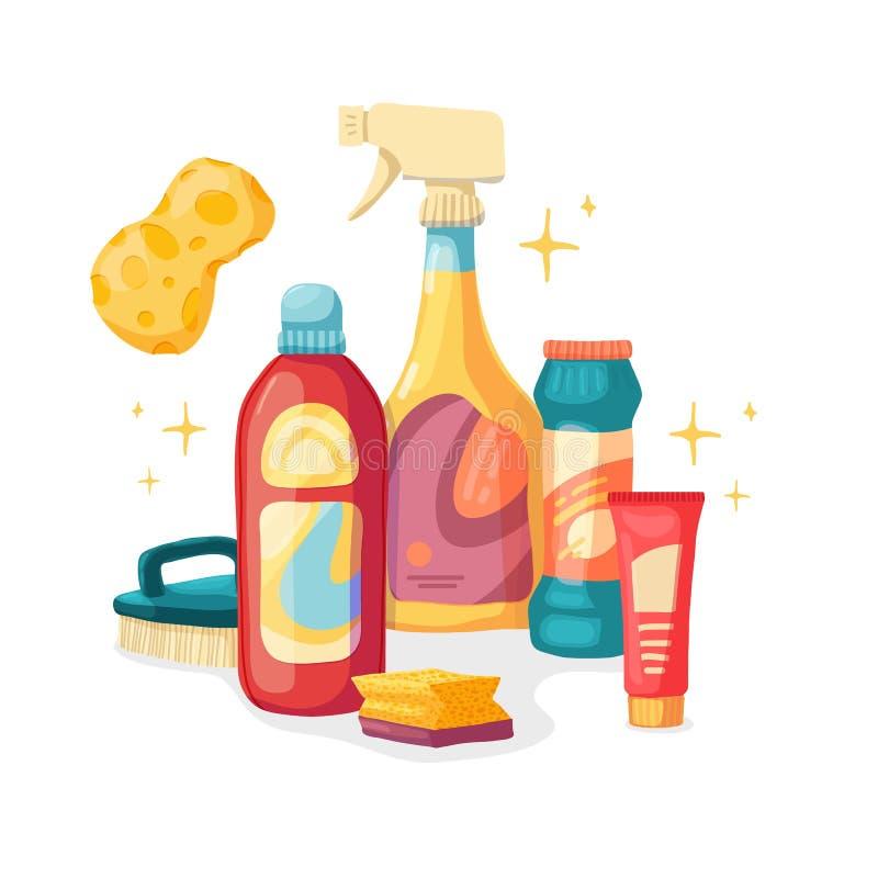 Καθαρισμός σπιτιών εμβλημάτων σχεδίου με τα καθαρίζοντας προϊόντα Οικιακές χημικές ουσίες απεικόνισης κινούμενων σχεδίων Temlate  απεικόνιση αποθεμάτων