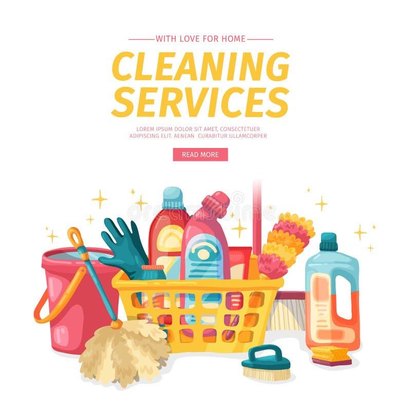 Καθαρισμός σπιτιών εμβλημάτων σχεδίου με τα καθαρίζοντας προϊόντα Οικιακές χημικές ουσίες απεικόνισης κινούμενων σχεδίων Temlate  ελεύθερη απεικόνιση δικαιώματος