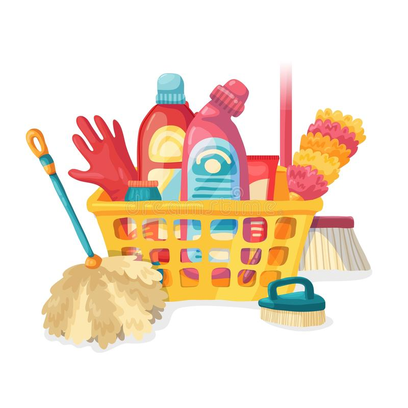 Καθαρισμός σπιτιών εμβλημάτων σχεδίου με τα καθαρίζοντας προϊόντα Οικιακές χημικές ουσίες απεικόνισης κινούμενων σχεδίων Temlate  διανυσματική απεικόνιση