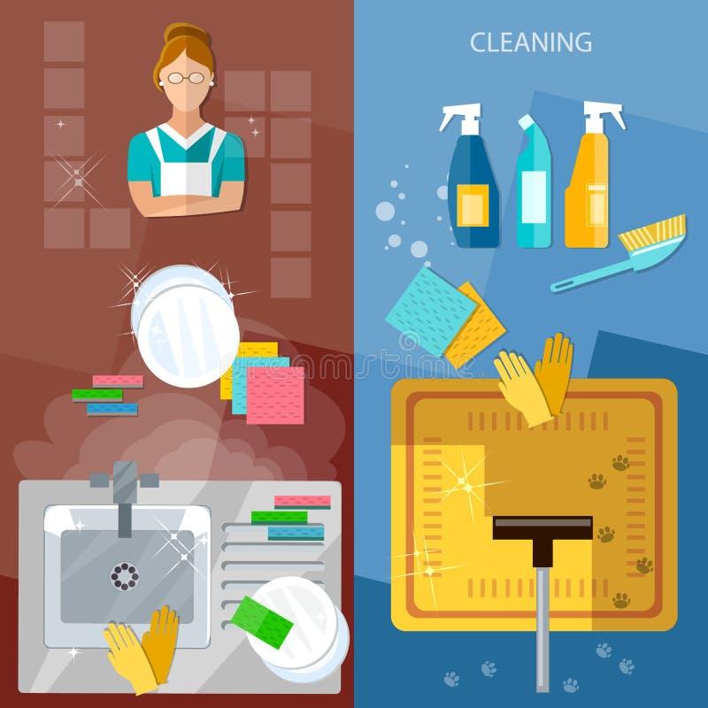 Καθαρισμός σπιτιών εμβλημάτων υπηρεσιών καθαρισμού απεικόνιση αποθεμάτων