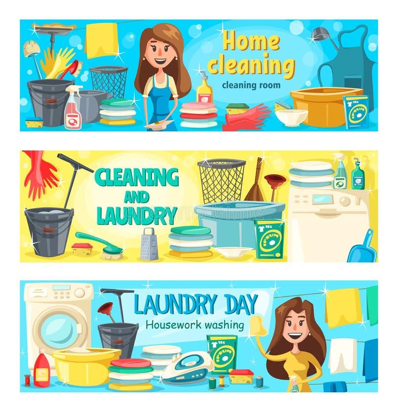 Καθαρισμός σπιτιών, πλυντήριο και υπηρεσία εγχώριας πλύσης διανυσματική απεικόνιση