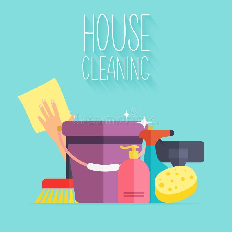 Καθαρισμός σπιτιών Πρότυπο αφισών για τις καθαρίζοντας υπηρεσίες σπιτιών με διανυσματική απεικόνιση