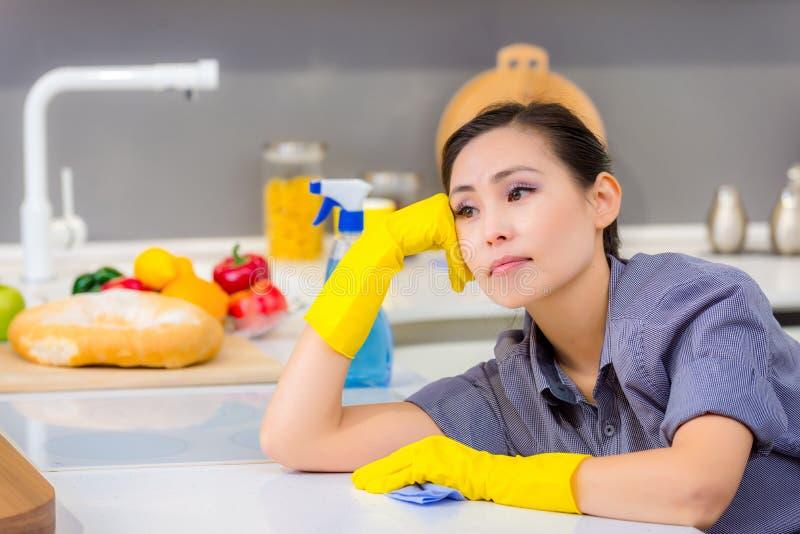 Καθαρισμός στην κουζίνα στοκ εικόνα με δικαίωμα ελεύθερης χρήσης