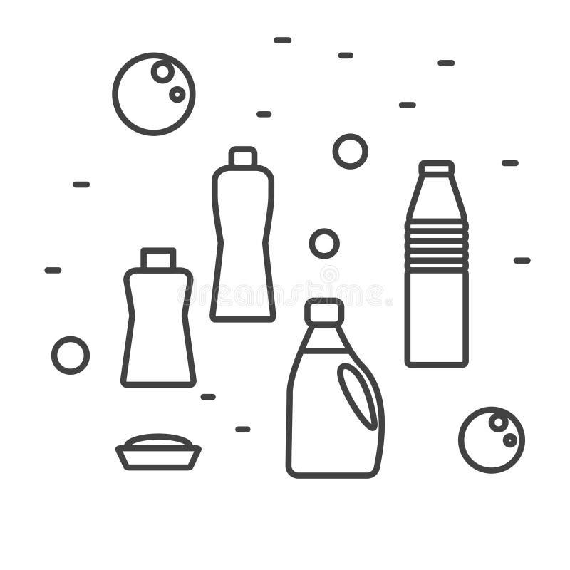 Καθαρισμός των καθαριστικών προμηθειών στο σύγχρονο ύφος γραμμών επίσης corel σύρετε το διάνυσμα απεικόνισης διανυσματική απεικόνιση