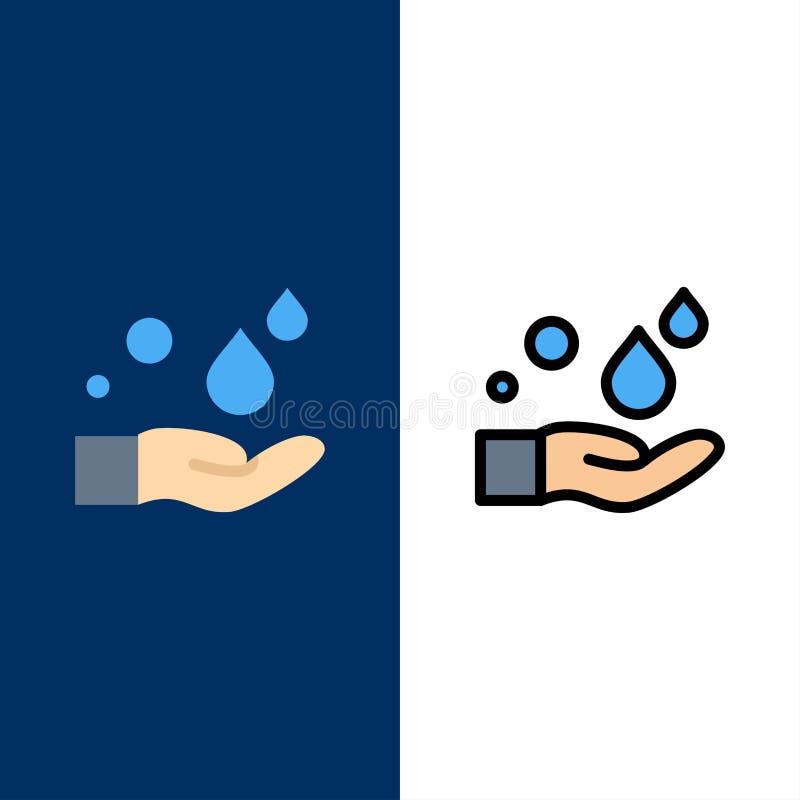 Καθαρισμός, χέρι, σαπούνι, εικονίδια πλυσίματος Επίπεδος και γραμμή γέμισε το καθορισμένο διανυσματικό μπλε υπόβαθρο εικονιδίων διανυσματική απεικόνιση