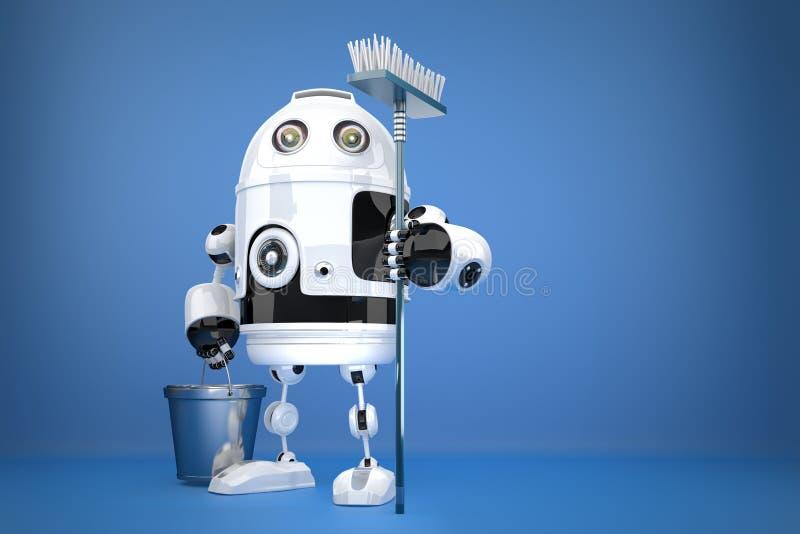 Καθαριστής ρομπότ απομονωμένο έννοια λευκό τεχνολογίας Περιέχει το μονοπάτι ψαλιδίσματος απεικόνιση αποθεμάτων