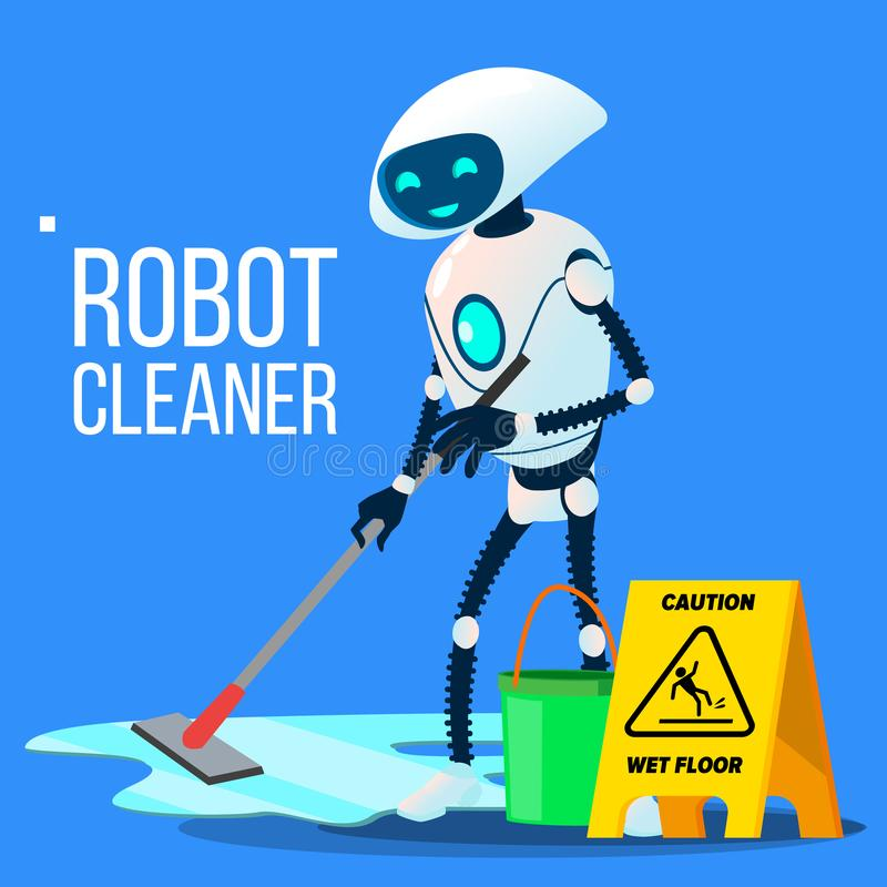 Καθαριστής ρομπότ που πλένει το πάτωμα με το διαθέσιμο διάνυσμα χεριών κάδων και Mop απομονωμένη ωθώντας s κουμπιών γυναίκα έναρξ απεικόνιση αποθεμάτων