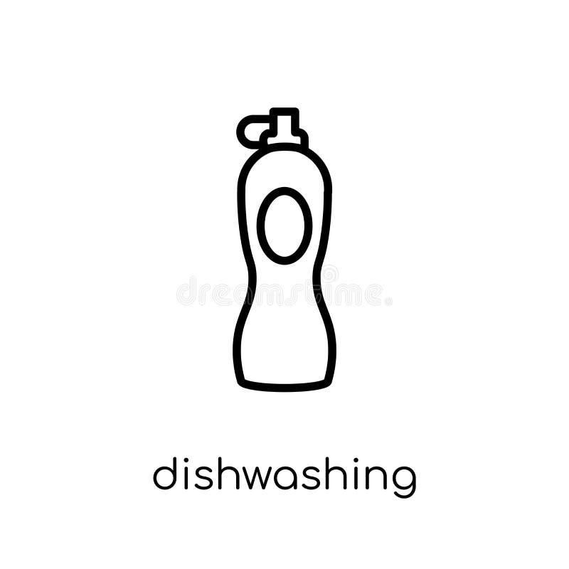 καθαριστικό εικονίδιο πλυσίματος των πιάτων Καθιερώνον τη μόδα σύγχρονο επίπεδο γραμμικό διανυσματικό DIS διανυσματική απεικόνιση