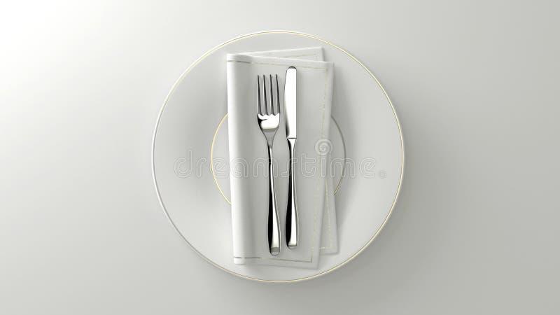 Καθαροί flatware σχεδίου πιάτο και πίνακας τρισδιάστατη απόδοση διανυσματική απεικόνιση