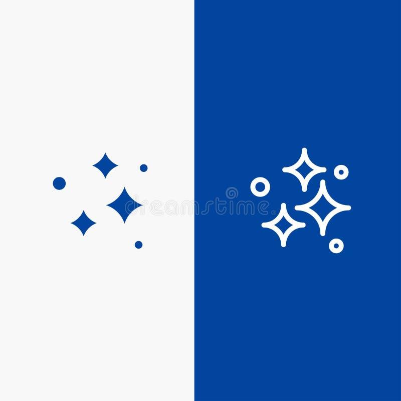 Καθαρός, καθαρισμός, τακτοποιημένος, πλύσιμο, πλένοντας γραμμή και στερεά γραμμή εμβλημάτων εικονιδίων Glyph μπλε και στερεό μπλε διανυσματική απεικόνιση