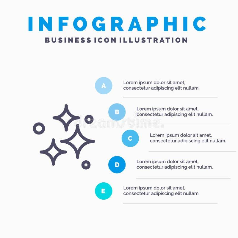 Καθαρός, καθαρισμός, τακτοποιημένος, πλύσιμο, πλένοντας εικονίδιο γραμμών με το υπόβαθρο infographics παρουσίασης 5 βημάτων απεικόνιση αποθεμάτων