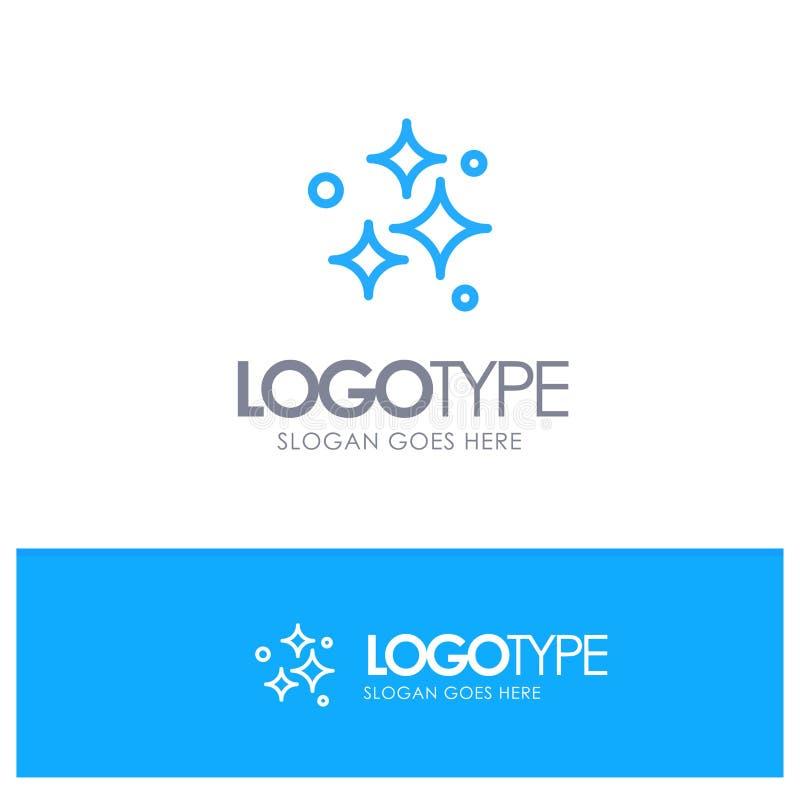 Καθαρός, καθαρισμός, τακτοποιημένος, πλύσιμο, πλένοντας μπλε λογότυπο περιλήψεων με τη θέση για το tagline διανυσματική απεικόνιση