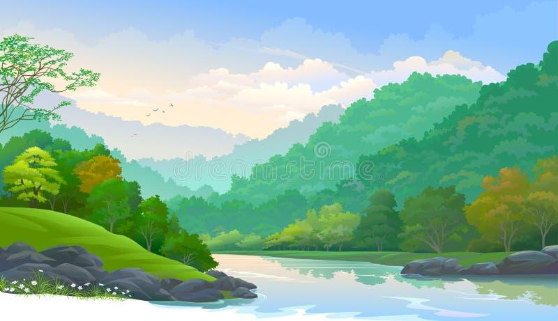 Καθαρός και φρέσκος ποταμός που ρέει κάτω από τα βουνά μέσω ενός παχιού δάσους διανυσματική απεικόνιση