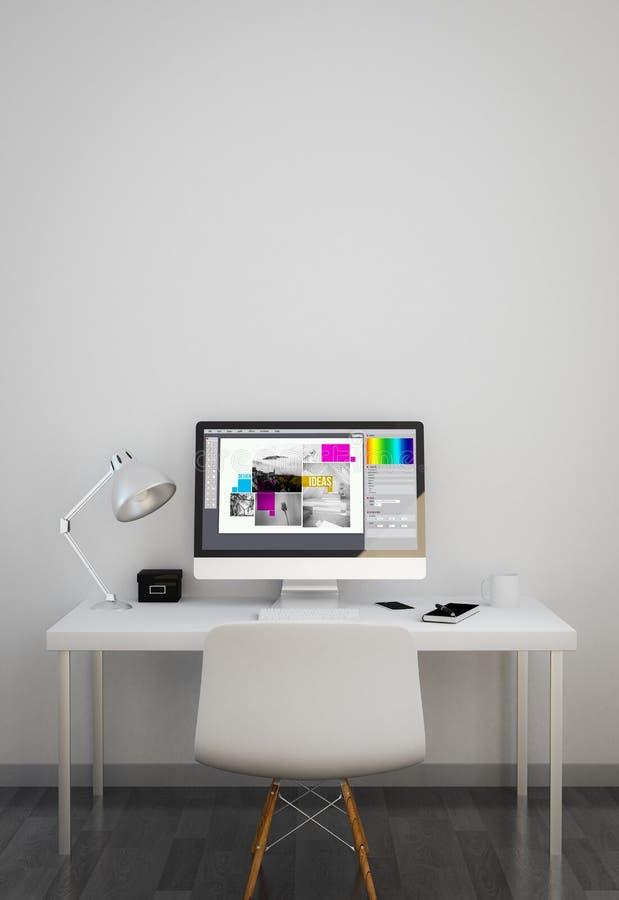 καθαρός χώρος εργασίας με το γραφικό λογισμικό σχεδίου στοκ φωτογραφία
