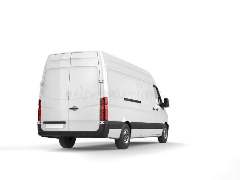 Καθαρό άσπρο σύγχρονο φορτηγό παράδοσης - πίσω άποψη διανυσματική απεικόνιση
