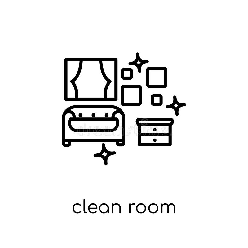 Καθαρό εικονίδιο δωματίων Καθιερώνον τη μόδα σύγχρονο επίπεδο γραμμικό διανυσματικό καθαρό ico δωματίων διανυσματική απεικόνιση
