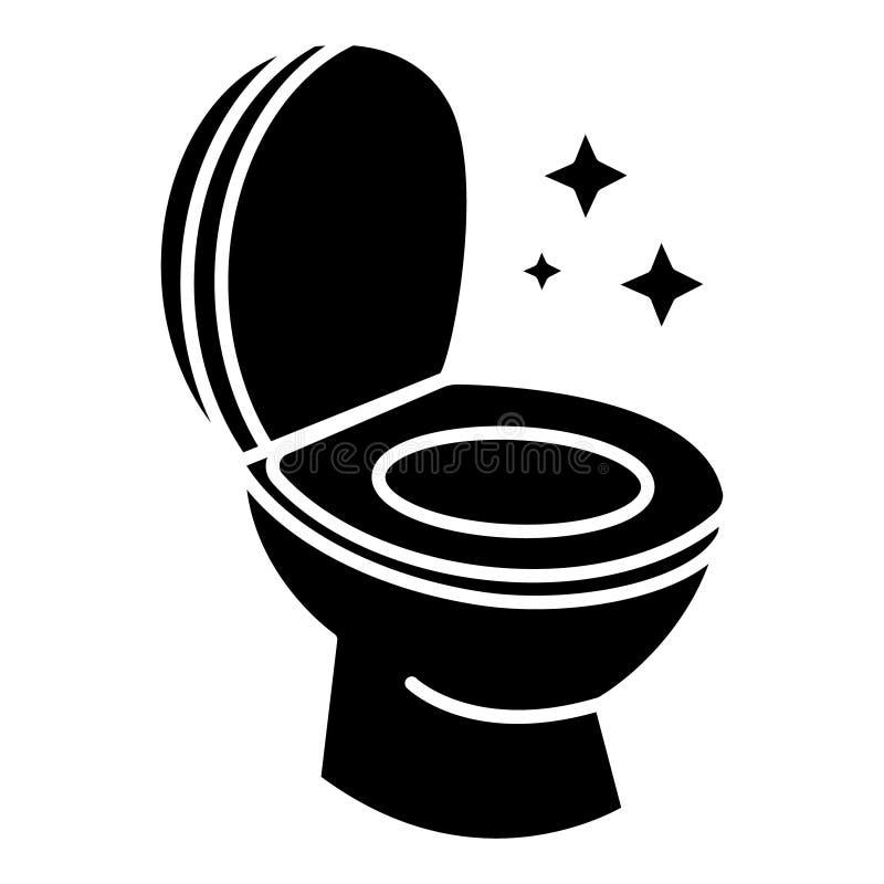 Καθαρό καθαρίζοντας εικονίδιο τουαλετών, διανυσματική απεικόνιση, μαύρο σημάδι στο απομονωμένο υπόβαθρο διανυσματική απεικόνιση