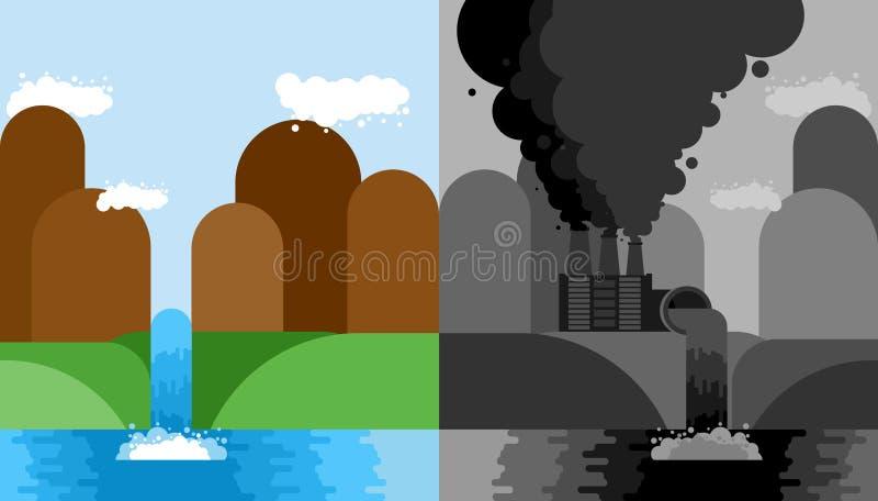 Καθαρό και βιομηχανικό σύνολο τοπίων Δηλητηριώδεις εκπομπές εγκαταστάσεων Μ ελεύθερη απεικόνιση δικαιώματος