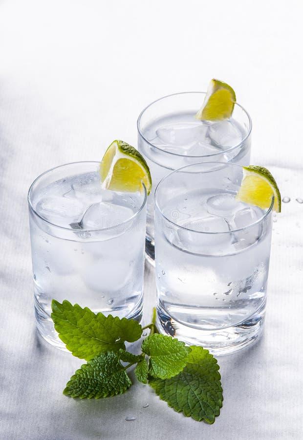 Καθαρό μεταλλικό νερό με τον πάγο και το λεμόνι στοκ φωτογραφίες