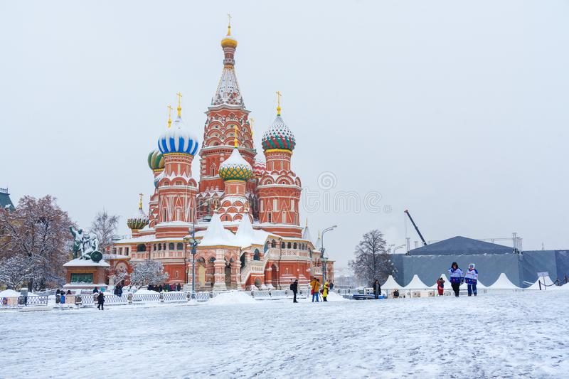 Καθεδρικός ναός βασιλικού ` s Αγίου στην κόκκινη πλατεία το χειμώνα Μόσχα Ρωσία στοκ φωτογραφία με δικαίωμα ελεύθερης χρήσης