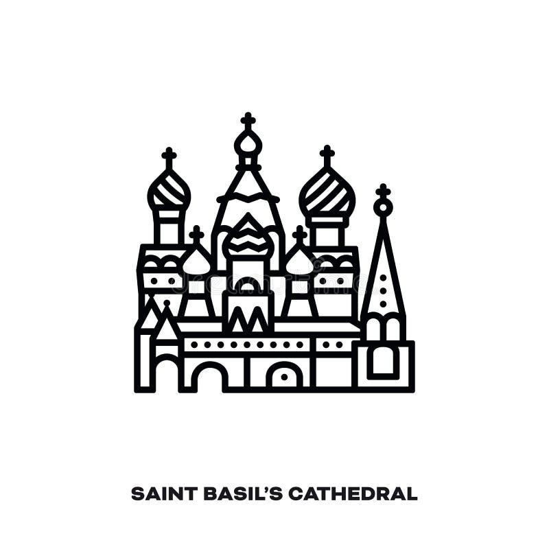 Καθεδρικός ναός βασιλικών Αγίου στη Μόσχα, διανυσματικό εικονίδιο γραμμών απεικόνιση αποθεμάτων