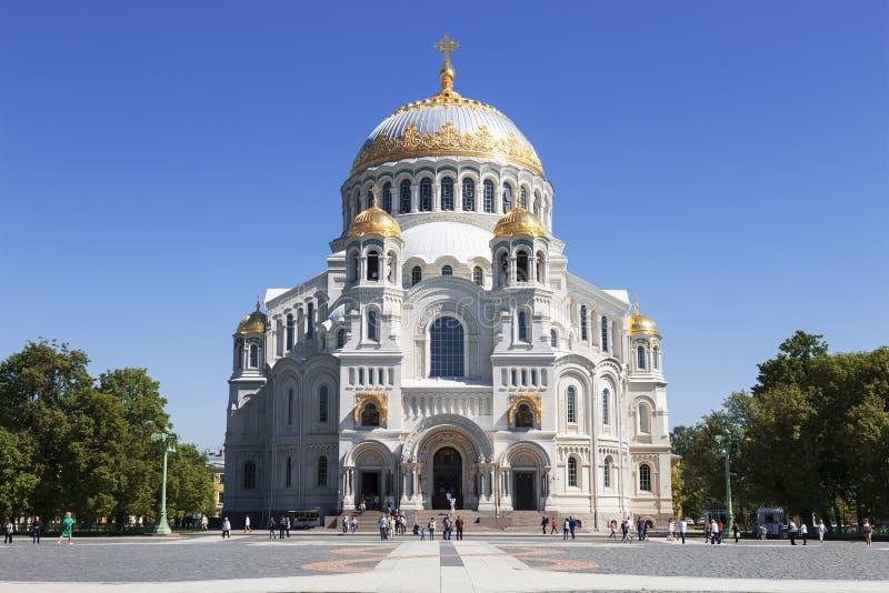 Καθεδρικός ναός θάλασσας του Άγιου Βασίλη σε Kronstadt, Αγία Πετρούπολη στοκ εικόνα