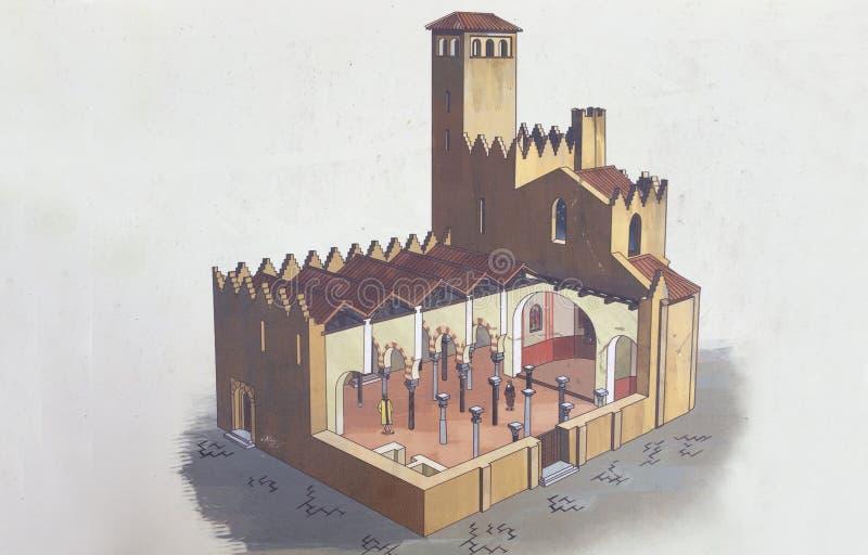 Καθεδρικός ναός της Σάντα Μαρία Badajoz Υποθετική απεικόνιση σήμερα στοκ εικόνα