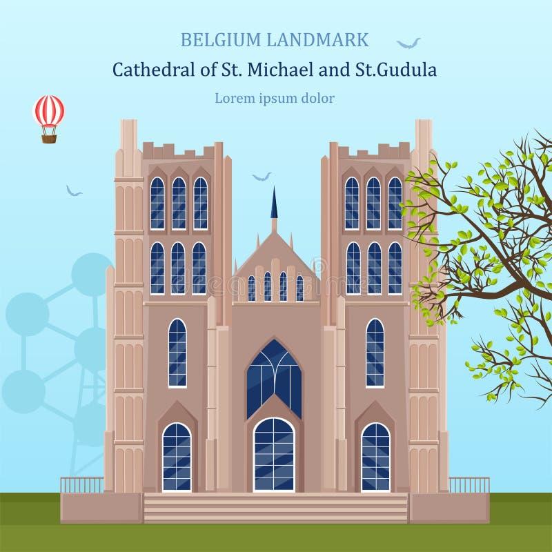 Καθεδρικός ναός του ST Michael στο διάνυσμα του Βελγίου Ορόσημα αρχιτεκτονικής διανυσματική απεικόνιση