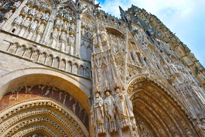 Καθεδρικός ναός Notre-Dame του Ρουέν Δυτική πρόσοψη στοκ φωτογραφίες με δικαίωμα ελεύθερης χρήσης