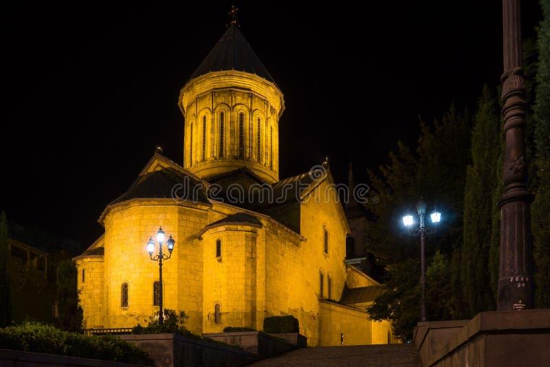 Καθεδρικός ναός Sioni στο tblisi τη νύχτα στοκ εικόνες