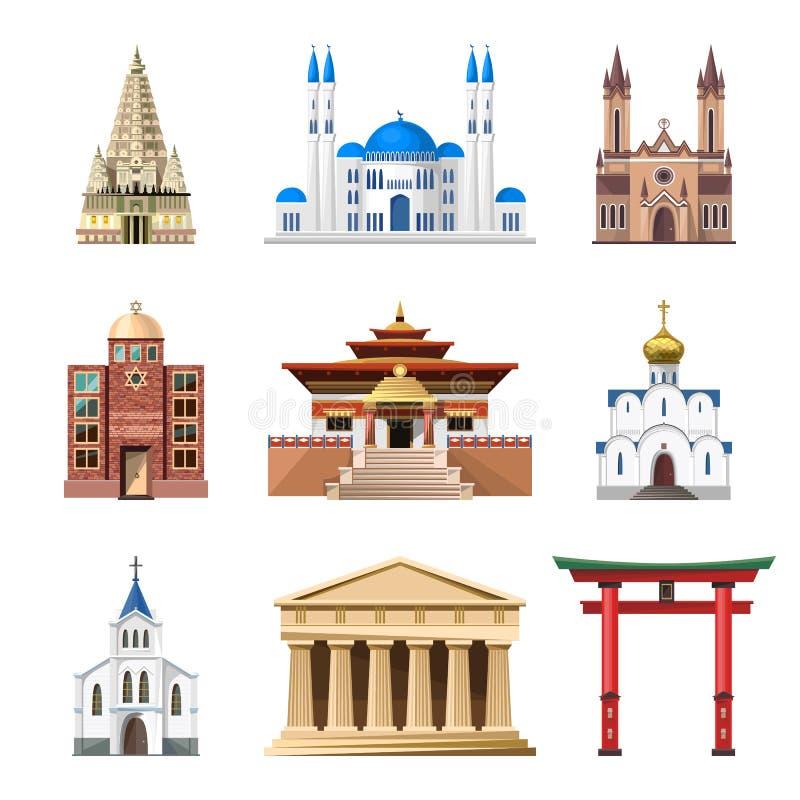 Καθεδρικοί ναοί, εκκλησίες και μουσουλμανικά τεμένη που χτίζουν το διανυσματικό σύνολο ελεύθερη απεικόνιση δικαιώματος