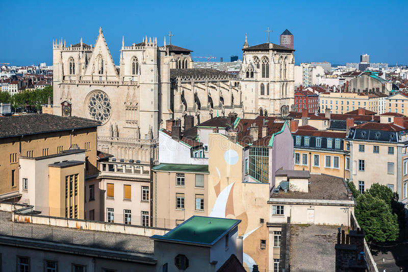 Καθεδρικός ναός Αγίου Jean στην πόλη της Λυών, Γαλλία στοκ εικόνα