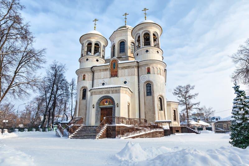 Καθεδρικός ναός ανάβασης το χειμώνα σε Zvenigorod στοκ φωτογραφία