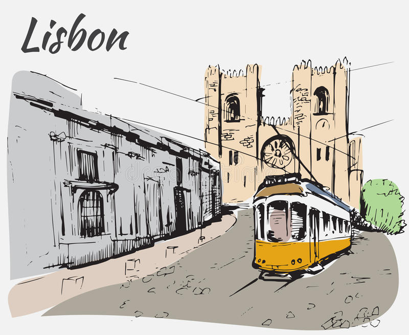 Καθεδρικός ναός και τραμ της Λισσαβώνας απεικόνιση αποθεμάτων