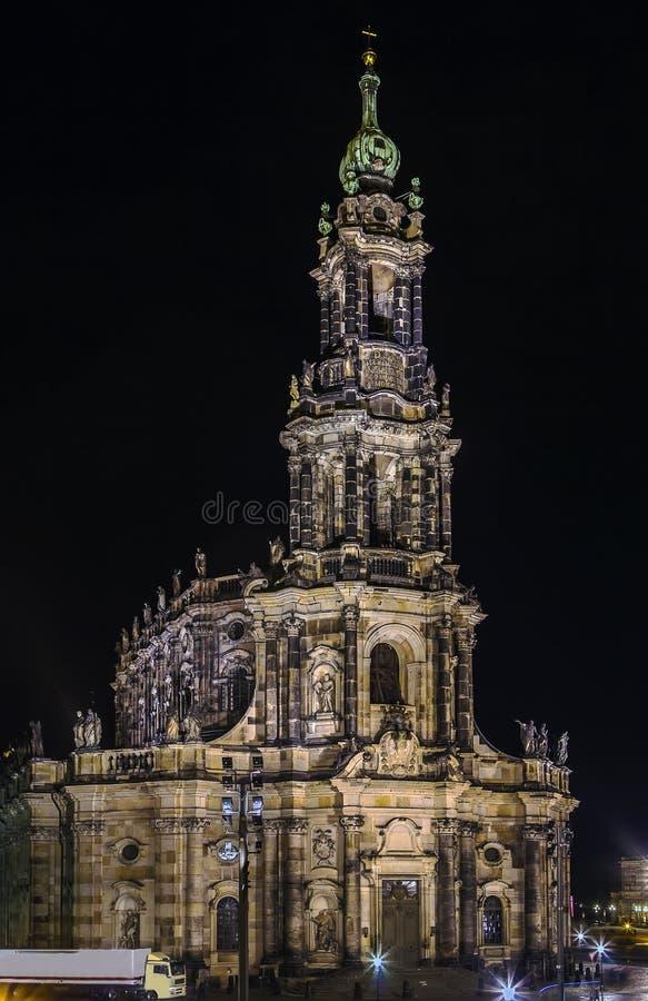 Καθεδρικός ναός της Δρέσδης τη νύχτα, Γερμανία στοκ φωτογραφία με δικαίωμα ελεύθερης χρήσης