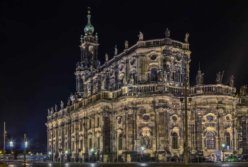 Καθεδρικός ναός της Δρέσδης τη νύχτα, Γερμανία στοκ εικόνες