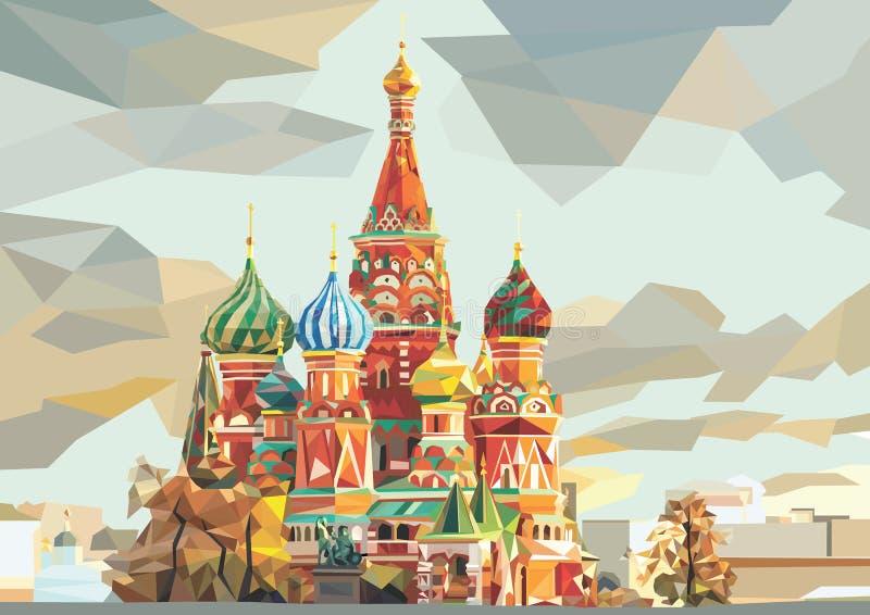 Καθεδρικός ναός του βασιλικού του ST στο κόκκινο τετράγωνο στη Μόσχα Ρωσία διανυσματική απεικόνιση