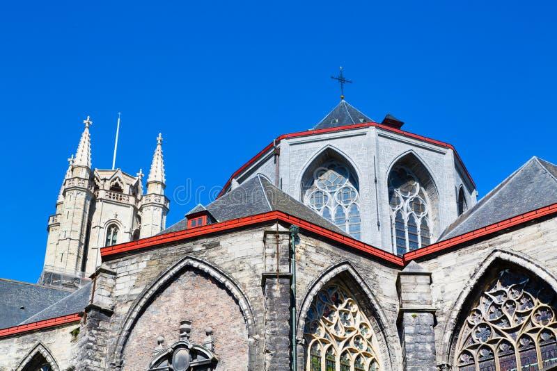Καθεδρικός ναός του ST Bavo στο δημοφιλή τουριστικό προορισμό Γάνδη, Βέλγιο στοκ φωτογραφίες με δικαίωμα ελεύθερης χρήσης