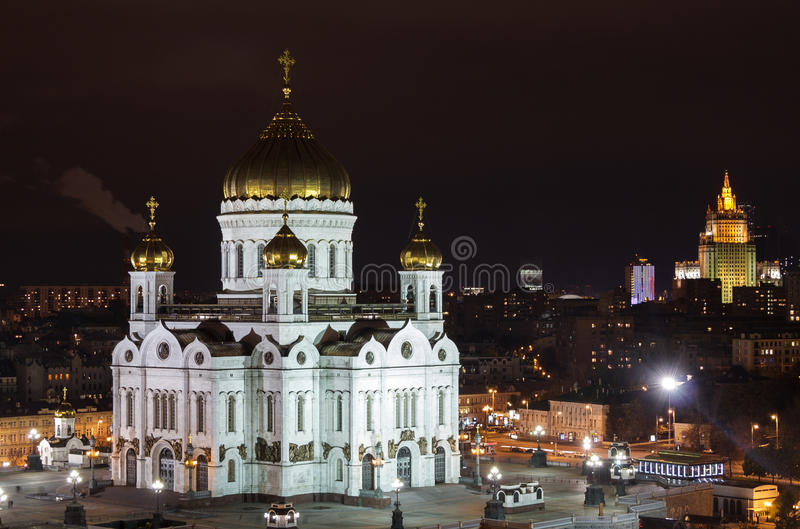 Καθεδρικός ναός Χριστού το Savior στη νύχτα Μόσχα στοκ εικόνες