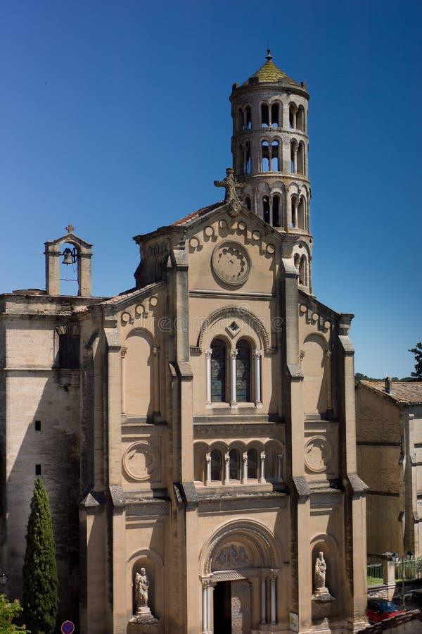 Καθεδρικός ναός Uzes, πύργος παραθύρων στοκ φωτογραφίες με δικαίωμα ελεύθερης χρήσης