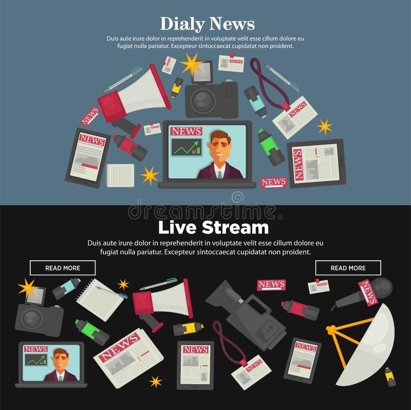 Καθημερινές ειδήσεις και ζωντανές αφίσες Διαδικτύου ρευμάτων προωθητικές διανυσματική απεικόνιση