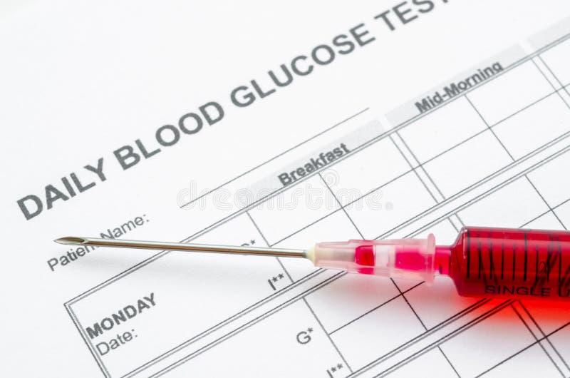 Καθημερινή δοκιμή γλυκόζης αίματος και σύριγγα δειγμάτων bloodin στοκ εικόνα με δικαίωμα ελεύθερης χρήσης