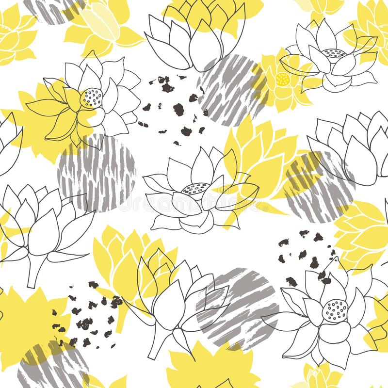 Καθιερώνοντα τη μόδα αφηρημένα κίτρινα και γκρίζα waterlilies ή άνευ ραφής διανυσματικό υπόβαθρο σχεδίων λουλουδιών λωτού ελεύθερη απεικόνιση δικαιώματος