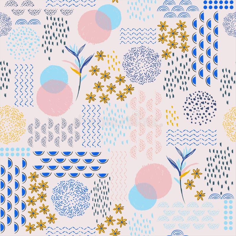 Καθιερώνοντα τη μόδα γλυκά σύγχρονα εξωτικά συρμένα χέρι γραμμή κρητιδογραφιών και σκίτσο σημείων doodle floral, άνευ ραφής σχέδι διανυσματική απεικόνιση