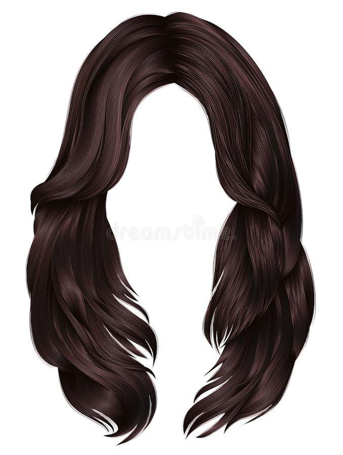 καθιερώνοντα τη μόδα γυναικών μακροχρόνια τριχών χρώματα brunette brunette καφετιά Μόδα ομορφιάς ρεαλιστικός γραφικός τρισδιάστατ ελεύθερη απεικόνιση δικαιώματος