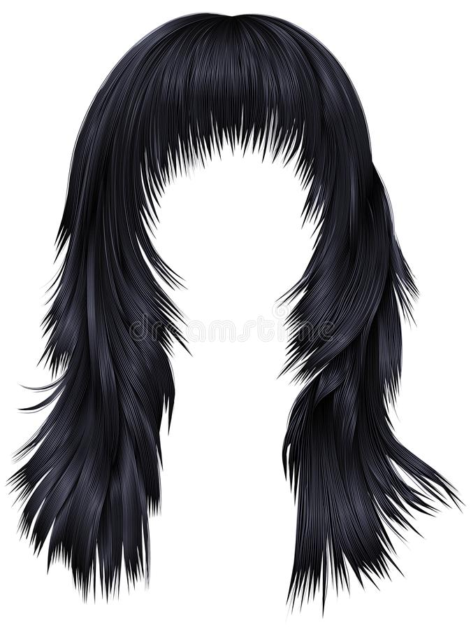 Καθιερώνοντα τη μόδα μαύρα χρώματα brunette τριχών γυναικών μακροχρόνια fashio ομορφιάς ελεύθερη απεικόνιση δικαιώματος
