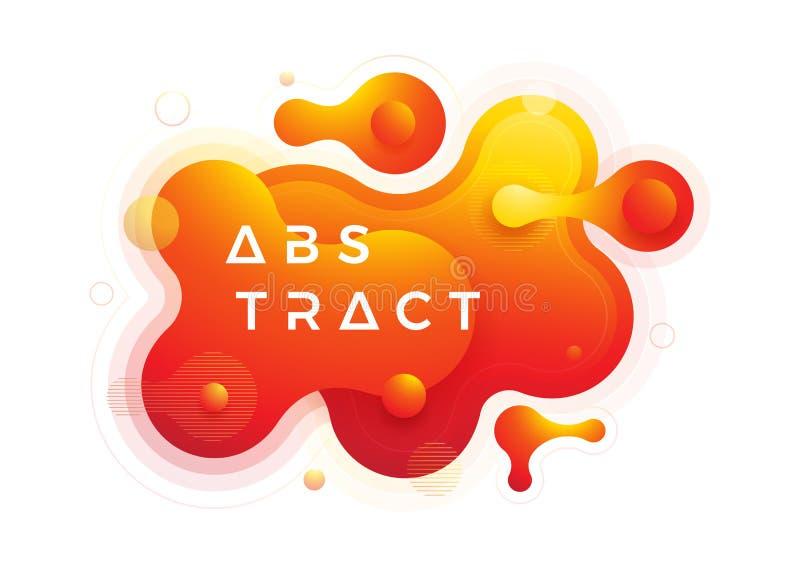 Καθιερώνοντα τη μόδα στοιχεία σχεδίου ρευστής, υγρής κλίσης Αφηρημένο πορτοκαλί, κόκκινο υγρό υπόβαθρο απεικόνιση αποθεμάτων