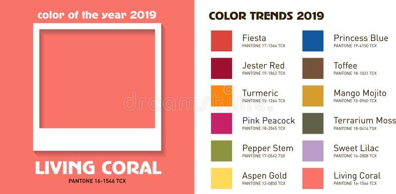 2019 καθιερώνοντα τη μόδα χρώματα μόδας ελεύθερη απεικόνιση δικαιώματος